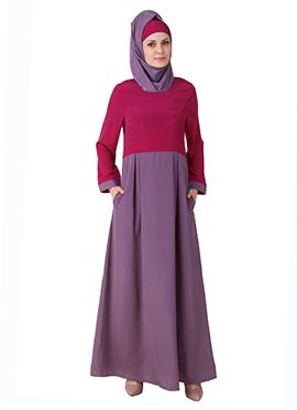 Wabisa Crepe Magenta N Purple Abaya
