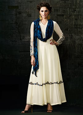 White Ankle Length Anarkali Suit