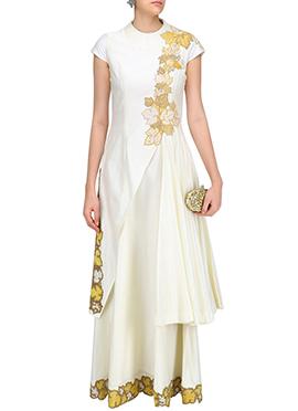 White Ark Silk Layered Anarkali Gown
