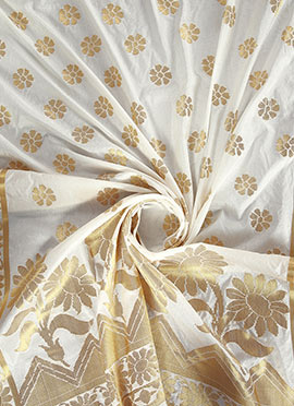 White Art Benarasi Silk Dupatta