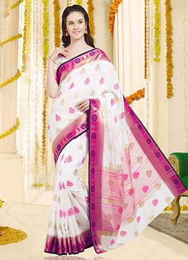 White Art Benarasi Silk Saree