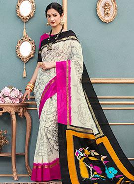 White Art Bhagalpuri Silk Saree