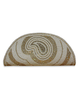 White Art Dupion Silk Clutch