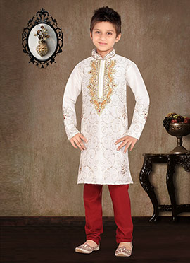White Art Dupion Silk Kids Kurta Pyjama