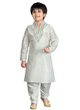 White Art Dupion Silk Kids Kurta Pyjama