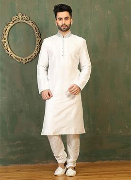White Art Dupion Silk Kurta Pyjama