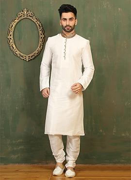 Offwhite Art Dupion Silk Kurta Pyjama