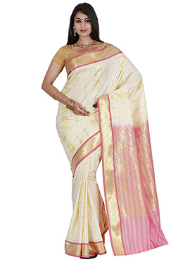 White Art Kancheepuram Silk Saree