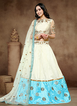 White Art Silk A Line Lehenga