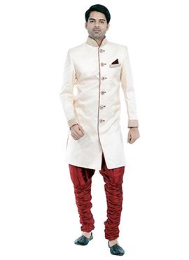 White Art Silk Achkan Sherwani