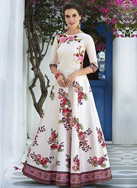 White Art Silk Anarkali Gown