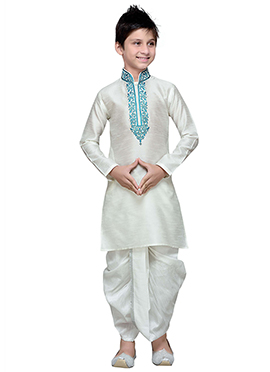 White Art Silk Boys Dhoti Kurta