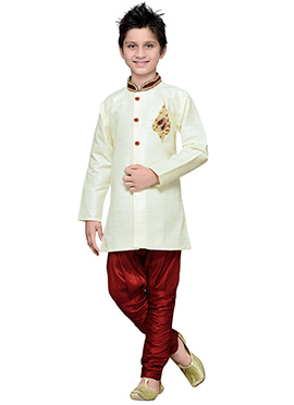White Art Silk Boys Hand Work Breeches Style Sherw