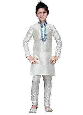 White Art Silk Boys Kurta Pyjama