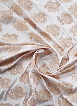 White Art Silk Brocade Fabric