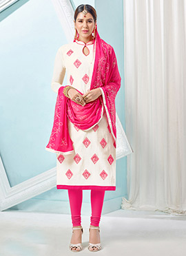 White Art Silk Churidar Suit