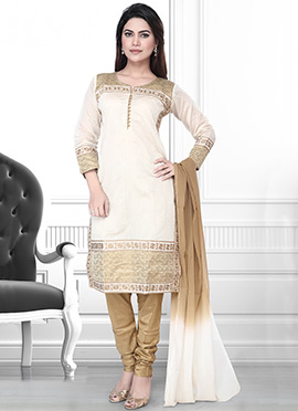 White Art Silk Churidar Suit