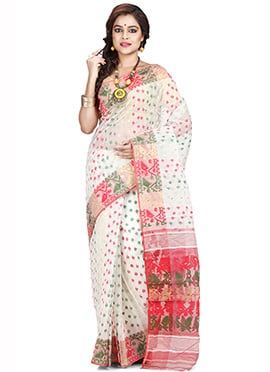 White Art Silk Cotton Saree