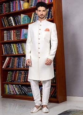 Off White Art Silk Indowestern Sherwani