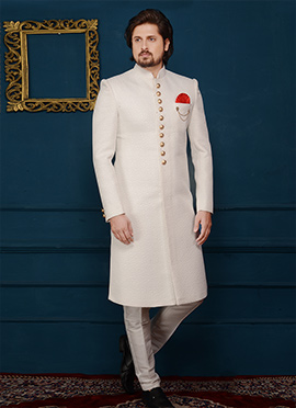 White Art Silk Indowestern Sherwani