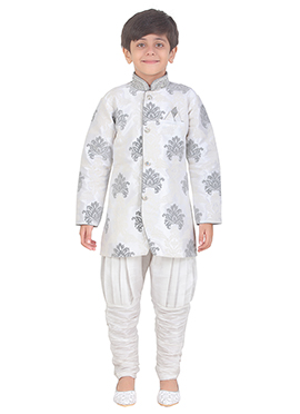 White Art Silk Kids Kurta Pyjama