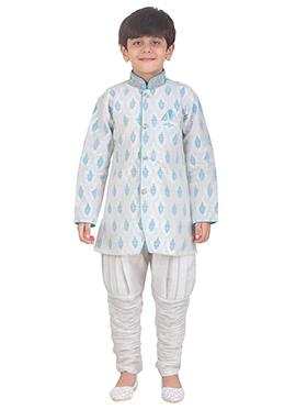 Off White Art Silk Kids Kurta Pyjama