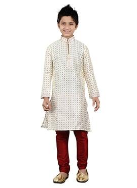 White Art Silk Kids Kurta Pyjama