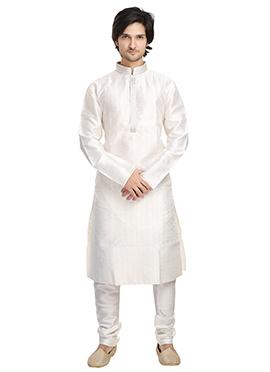 White Art Silk Kurta Pyjama