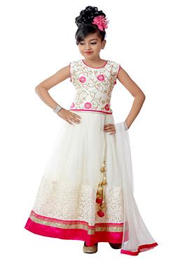 White Art Silk N Net Kids A Line Lehenga Choli