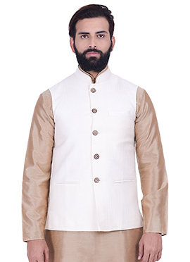 Off White Art Silk Nehru Jacket