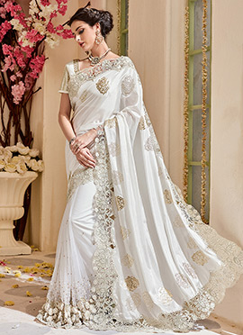 White Art Silk Net Saree