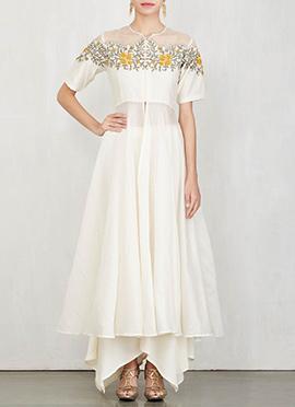 White Art Silk Palazzo Suit