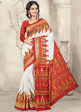 White Art Silk Saree