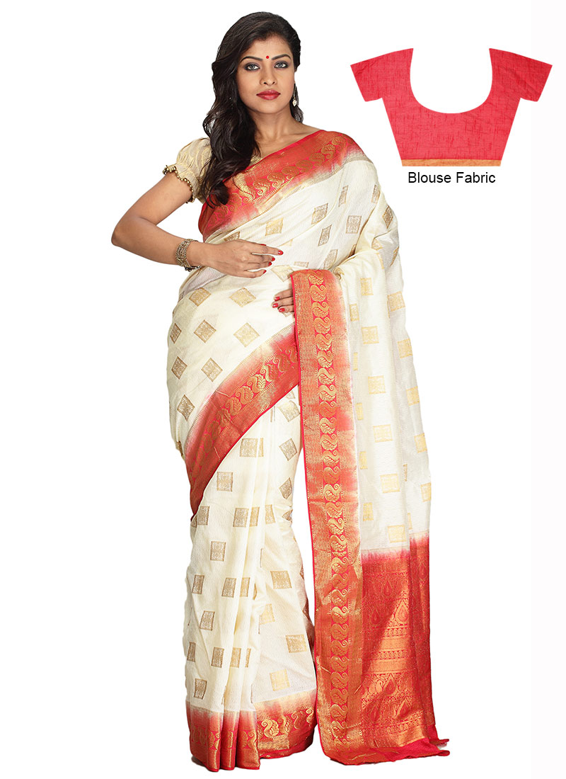 Buy White Art Silk Saree Zari Sari Online Shopping