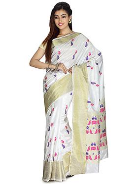 White Art Silk Saree
