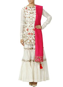 White Art Silk Sharara Suit