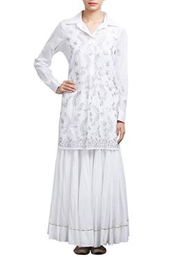 White Art Silk Skirt Set