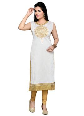 White Art Silk Straight Kurti