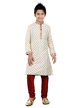 White Art Silk Teens Kurta Pyjama