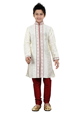 White Art Silk Teens Sherwani