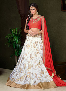 White Art Silk Umbrella Lehenga Choli