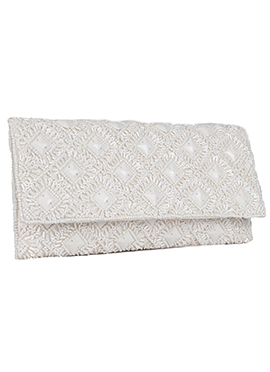 White Beads N Sequins Embellished Stylish Clutch