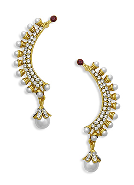 White Beads N Stone Ear Cuffs