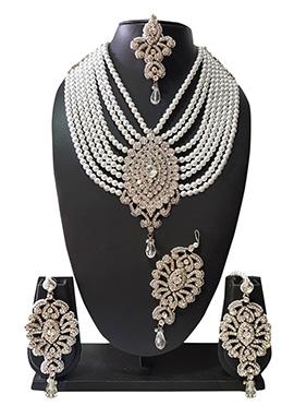 White Beads N Stone Layered Necklace Set