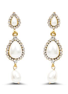 White Beads N Stones Dangler Earrings