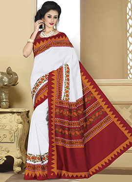 White Bhagalpuri Art Silk Saree