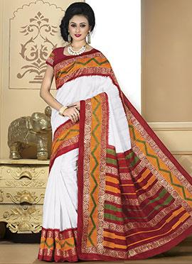 White Bhagalpuri Art Silk Saree