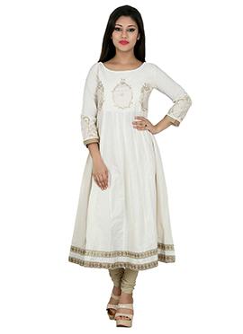 White Blended Cotton Anarkali Kurti