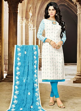 White Blended Cotton Churidar Suit