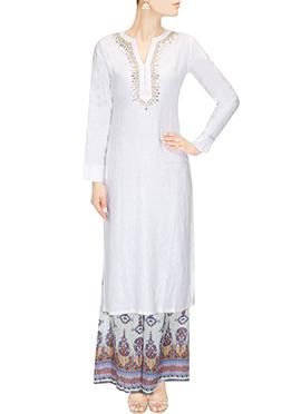 White Blended Cotton Long Kurti